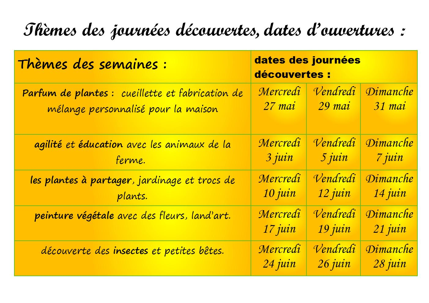programme fin mai juin 2020 à la ferme calendrier
